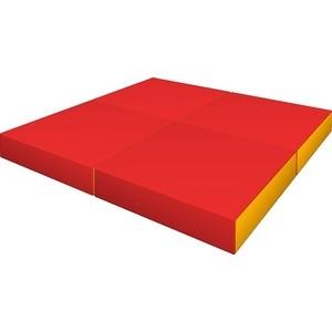 Мат КМС № 11 (100 х 100 10) складной (4 сложения) красно- жёлтый 2634