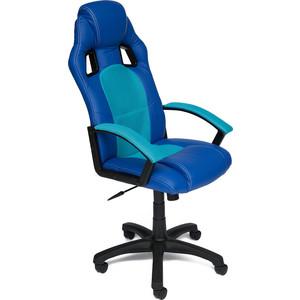 цена Кресло TetChair DRIVER кож/зам/ткань, синий/голубой 36-39/23 онлайн в 2017 году