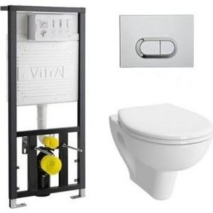 Комплект Vitra S20 Rim-Ex безободковый унитаз с сиденьем микролифт + инсталляция кнопка хром (9004B003-7202)