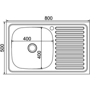 Кухонная мойка Mixline Накладная 80х50 нержавеющая сталь 0,4мм (4630030631699)