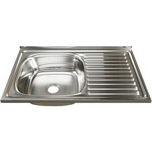 Кухонная мойка Mixline Накладная 80х50 с сифоном, нержавеющая сталь 0,6мм (4630030631750)