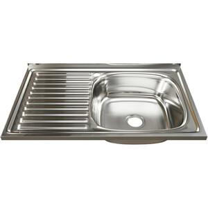 Кухонная мойка Mixline Накладная 80х50 с сифоном, нержавеющая сталь 0,6мм (4630030631781)