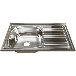 Кухонная мойка Mixline Накладная 80х50 с сифоном, нержавеющая сталь 0,8мм (4630030631811)