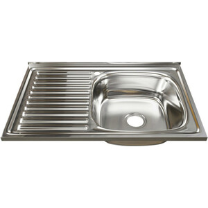 Кухонная мойка Mixline Накладная 80х50 с сифоном, нержавеющая сталь 0,8мм (4630030631842)