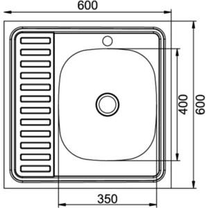 Кухонная мойка Mixline Накладная 60х60 нержавеющая сталь 0,4мм (4630030631279)