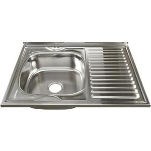 Кухонная мойка Mixline Накладная 80х60 с сифоном, нержавеющая сталь 0,6мм (4630030631545)