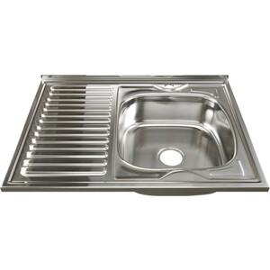 Кухонная мойка Mixline Накладная 80х60 с сифоном, нержавеющая сталь 0,6мм (4630030631576)