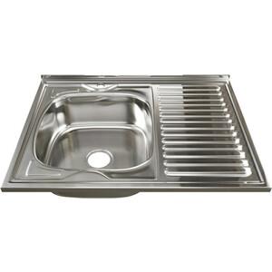 Кухонная мойка Mixline Накладная 80х60 с сифоном, нержавеющая сталь 0,8мм (4630030631873)