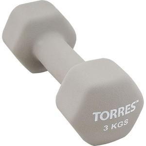 Гантель Torres 3 кг - 1 шт (PL55013) в неопреновой оболочке серый