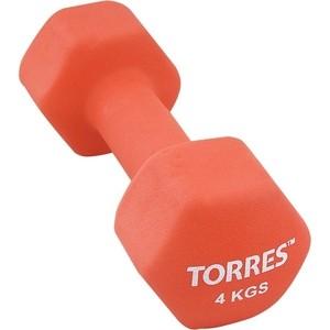 Гантель Torres 4 кг - 1 шт (PL55014) в неопреновой оболочке красный