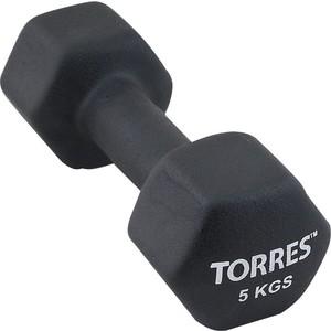 Гантель Torres 5 кг - 1 шт (PL55015) в неопреновой оболочке черный гантель hawk виниловая hkdb115 n 1 5 синий 1 5 кг