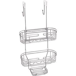 Полка-решетка Fixsen навесная, двухярусная, с мыльницей, хром (FX-861)