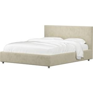 Кровать АртМебель Кариба микровельвет бежевый