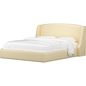 Кровать Мебелико Лотос эко-кожа бежевый.