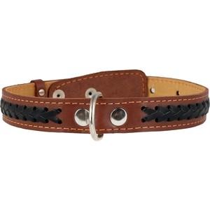 Ошейник CoLLaR кожаный двойной с вплетенной косой 48-63см*35мм коричневый для собак (02836)