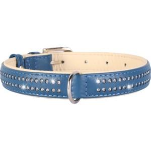Ошейник CoLLaR Brilliance кожаный двойной со стразами маленькими ширина 25мм длина 38-49см синий для собак (387812)