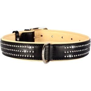 все цены на Ошейник CoLLaR Brilliance кожаный двойной со стразами маленькими ширина 35мм длина 46-60см черный для собак (38821) онлайн