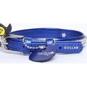 """Ошейник CoLLaR Brilliance из лаковой кожи двойной с украшением """"полотно стразы"""" ширина 15мм длина 27-36см синий для собак (30252)"""