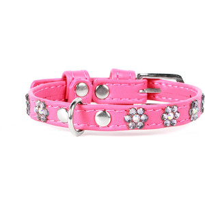 Ошейник CoLLaR Glamour с клеевыми стразами ''цветочек'' ширина 12мм длина 21-29см розовый для собак (32697) Glamour с клеевыми стразами