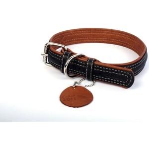 Ошейник CoLLaR SOFT кожаный двойной ширина 25мм длина 38-49см черный верх, коричневый низ для собак (7202)