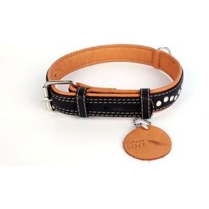 Ошейник CoLLaR SOFT кожаный двойной с металлическими украшениями ширина 25мм длина 38-49см черный верх, коричневый низ для собак (7206)