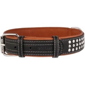 Ошейник CoLLaR SOFT кожаный двойной с металлическими украшениями ширина 35мм длина 46-60см черный верх, коричневый низ для собак (7214)
