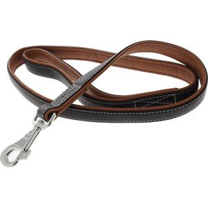 Поводок CoLLaR SOFT кожаный двойной 122см*25мм черный верх, коричневый низ для собак (7258) фото