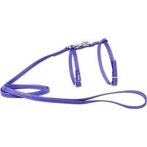 Шлейка CoLLaR Glamour с поводком кожаная двойная 115см*12мм обхват шеи 25-35см обхват груди 35-45см фиолетовый для кошек и собак (34009) фото