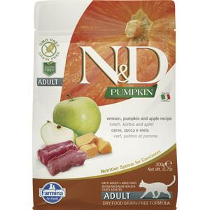 Сухой корм Farmina N&D Adult Cat GF Pumpkin Venison & Apple беззерновой с олениной яблоком и тыквой для кошек 300г