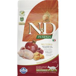 Сухой корм Farmina N&D Neutered Cat GF Pumpkin Quail & Pomegranate беззерновой с перепелкой гранатом тыквой для стерелизованных кошек 1,5кг