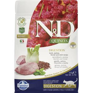 Сухой корм Farmina N&D Cat GF Quinoa Digestion Lamb Fennel &Mint беззерновой с ягненком киноа фенхелем и мятой здоровое пищеварение для кошек 300г