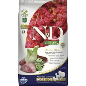 Сухой корм Farmina N&D Dog GF Quinoa Digestion Lamb Fennel &Mint беззерновой с ягненком киноа фенхелем и мятой здоровое пищеварение для собак 2,5кг