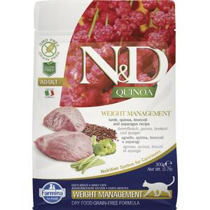 Сухой корм Farmina N&D Cat GF Quinoa Weight Management Lamb Broccoli & Asparagus беззерновой с ягненком киноа брокколи и спаржей для кошек 300г