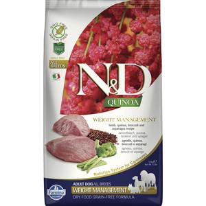 Сухой корм Farmina N&D Cat GF Quinoa Weight Management Lamb Broccoli & Asparagus беззерновой с ягненком киноа брокколи и спаржей для кошек 2,5кг