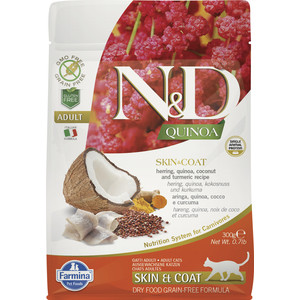 Сухой корм Farmina N&D Cat GF Quinoa Skin & Coat Herring Coconut Turmeric беззерновой с сельдью киноа кокосом и куркумой для кошек 300г