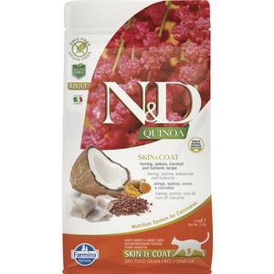 Сухой корм Farmina N&D Cat GF Quinoa Skin & Coat Herring Coconut Turmeric беззерновой с сельдью киноа кокосом и куркумой для кошек 1,5 кг
