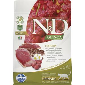 Сухой корм Farmina N&D Cat GF Quinoa Urinary Duck Cranberry & Chamomile беззерновой с уткой клюквой и ромашкой профилактика МКБ для кошек 300г