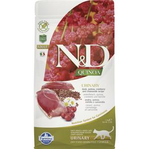Сухой корм Farmina N&D Cat GF Quinoa Urinary Duck Cranberry & Chamomile беззерновой с уткой клюквой и ромашкой профилактика МКБ для кошек 1,5кг