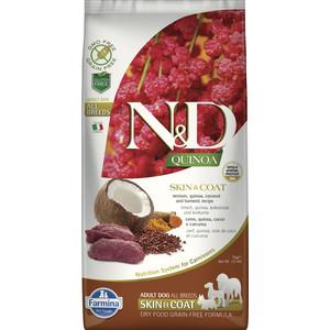 Сухой корм Farmina N&D Dog GF Quinoa Skin & Coat Venison Coconut Turmeric беззерновой с олениной киноа кокосом и куркумой для собак 7кг