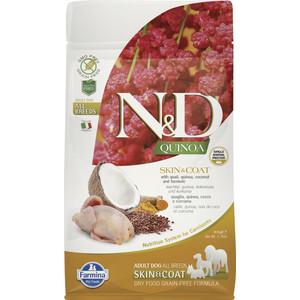Сухой корм Farmina N&D Dog GF Quinoa Skin & Coat Quail Coconut Turmeric беззерновой с перепелкой киноа кокосом и куркумой для собак 800г