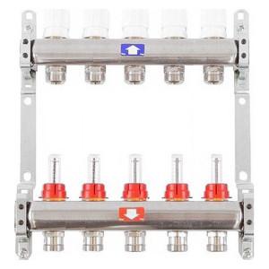 Коллекторная группа ITAP 1х3/4 5 выходов с расходомерами и термостатическими вентилями (917C 1' 5) коллекторная группа itap 1х3 4 4 выходов с расходомерами и термостатическими вентилями 917c 1 4
