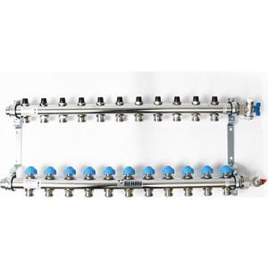 Коллекторная группа REHAU 1х3/4 11 выходов HKV без расходомера с вентилями (218111) коллекторная группа rehau 1х3 4 7 выходов hkv d с расходомером и термостатическими вентилями 208071