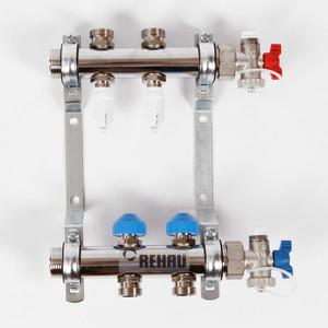 Коллекторная группа REHAU 1х3/4 2 выходов HKV-D с расходомером и термостатическими вентилями (208021) коллекторная группа rehau 1х3 4 7 выходов hkv d с расходомером и термостатическими вентилями 208071
