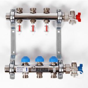 Коллекторная группа REHAU 1х3/4 3 выходов HKV-D с расходомером и термостатическими вентилями (208031) коллекторная группа rehau 1х3 4 7 выходов hkv d с расходомером и термостатическими вентилями 208071