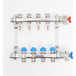 Коллекторная группа REHAU 1х3/4 4 выходов HKV-D с расходомером и термостатическими вентилями (208041) коллекторная группа rehau 1х3 4 7 выходов hkv d с расходомером и термостатическими вентилями 208071