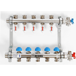 Коллекторная группа REHAU 1х3/4 5 выходов HKV-D с расходомером и термостатическими вентилями (208051) коллекторная группа rehau 1х3 4 7 выходов hkv d с расходомером и термостатическими вентилями 208071