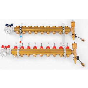 Коллекторная группа Tiemme 1х3/4х18 с расходомерами 9 выходов (3870009) ниппель радиаторный с прокладкой 1 2х3 4 tiemme