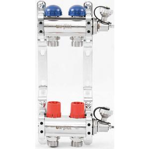 Коллекторная группа Uni-Fitt 1х3/4 2 выходов с регулировочными и термостатическими вентилями (441E4302) коллекторная группа royal thermo в сборе с расходомерами 1 вр 3 4 нр 9 выходов нержавеющая сталь rte 52 109