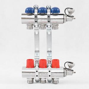 Коллекторная группа Uni-Fitt 1х3/4 3 выходов с регулировочными и термостатическими вентилями (441E4303) коллекторная группа uponor smart s с клапанами стальной 1х3 4 евроконус на 3 выхода 1088046