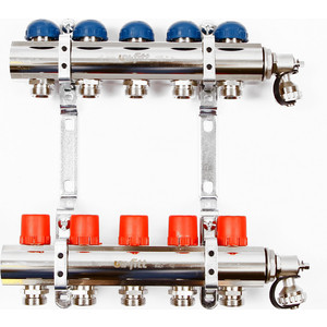Коллекторная группа Uni-Fitt 1х3/4 5 выходов с регулировочными и термостатическими вентилями (441E4305) коллекторная группа uni fitt 1х3 4 5 выходов с регулировочными и термостатическими вентилями 451i4305